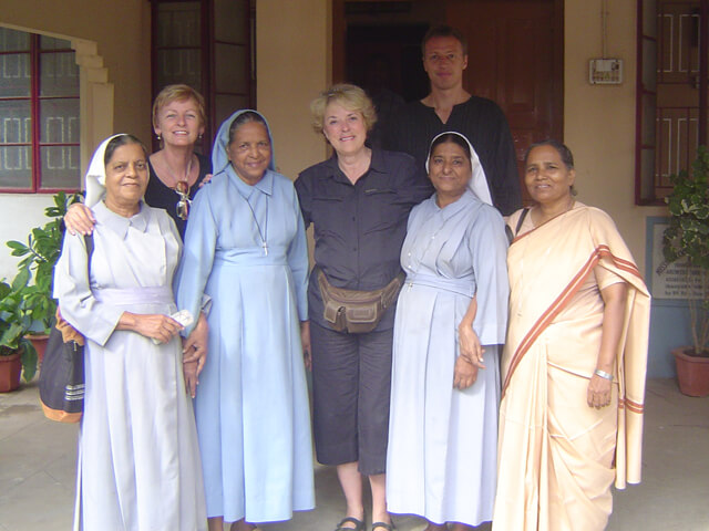 Saskia Raevouri, Sue Tennant and Mark Bloomfield with Sr. Crescence and other sisters in Bihar.