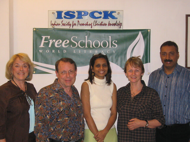 At the ISPCK headquarters in Delhi. Sue Tennant, Dr. John Lange, Ella Sonawane, Saskia Raevouri and Rev. Dr. Ashish Amos.