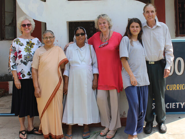 2016: Geri Johnson, Sr. Emma, Sr. Crescence, Sue Tennant, Francheska Coenraads, and Dr. Robert Coenraads at St. Mary's convent in Motihari, where it all began