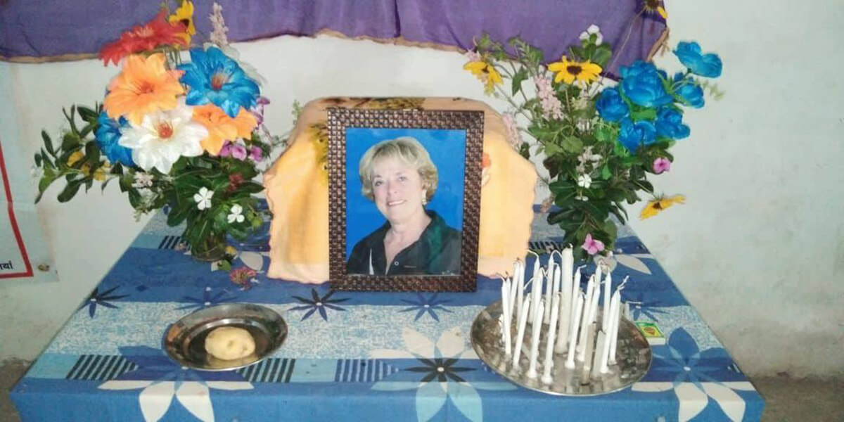 Memorial for Sue Tennant in Bettiah