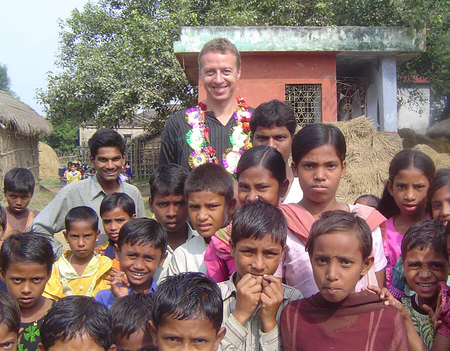 Mark in 2006 during a visit to one of the FreeSchools in Bettiah