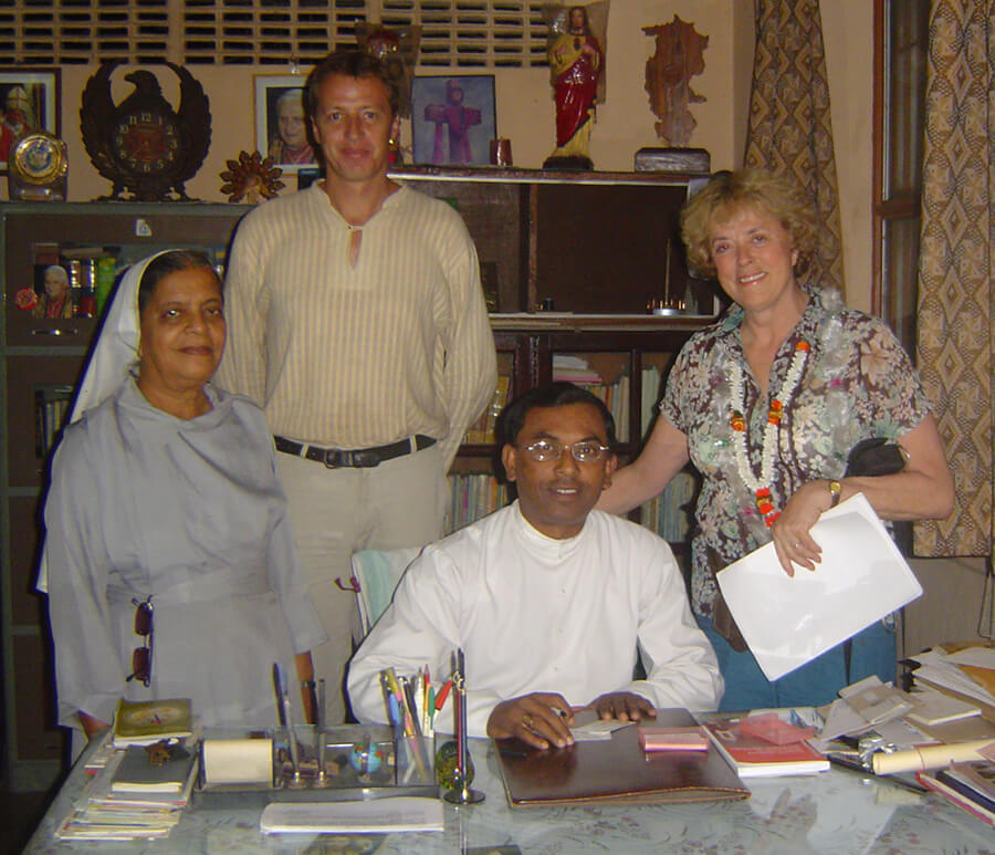 2006: Mark with Sister Crescence, Sue Tennant, and Henry Thakur, Bishop of Bettiah.