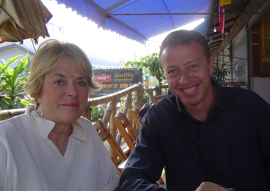 2006: Sue Tennant and Mark Bloomfield during the visit to the FreeSchools in Fang, Thailand